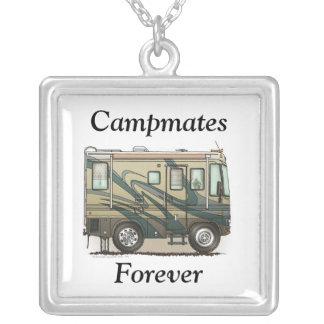 Cute Happy Camper Big RV Coach Motorhome Silver Plated Necklace