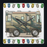 """Cute Happy Camper Big RV Coach Motorhome Square Wall Clock<br><div class=""""desc"""">Memories of camping last a lifetime! And so do those memories of your RV motorhome camper. These whimsical RV motorhome camper mens hoodies are as cute as they can be:) This RV motorhome camper was designed by artist Richard Neuman. His uniquely styled vintage RV motorhome artwork is collected worldwide. You...</div>"""