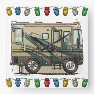 Cute Happy Camper Big RV Coach Motorhome Square Wall Clock