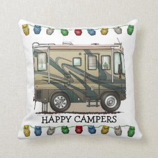 Cute Happy Camper Big RV Coach Motorhome Throw Pillow