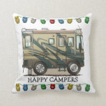 "Cute Happy Camper Big RV Coach Motorhome Throw Pillow<br><div class=""desc"">Memories of camping last a lifetime! And so do those memories of your RV motorhome camper. These whimsical RV motorhome camper throw pillows are as cute as they can be:) This RV motorhome camper was designed by artist Richard Neuman. His uniquely styled vintage RV motorhome artwork is collected worldwide. You...</div>"