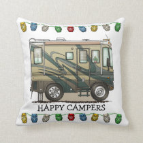 Cute Happy Camper Big RV Coach Motorhome Throw Pillow