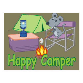 Cute Happy Camper Cartoon Mouse Postcard