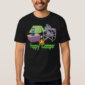 Cute Happy Camper Cartoon Mouse T-Shirt