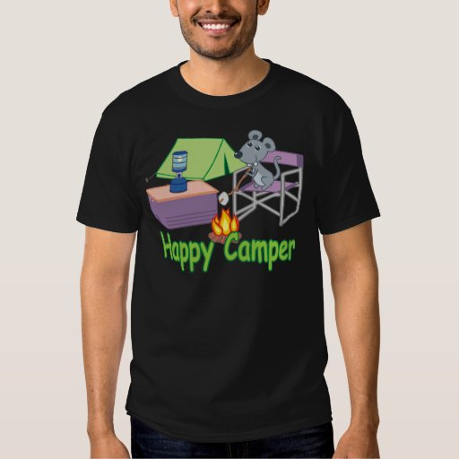 Cute Happy Camper Cartoon Mouse Tee Shirts