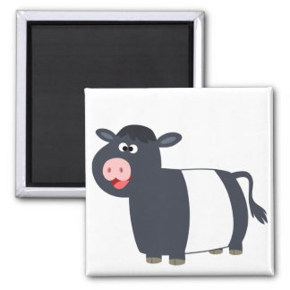 Cute Happy Cartoon Belted Galloway Cow Magnet