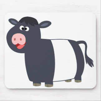 Cute Happy Cartoon Belted Galloway Cow Mousepad