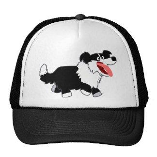 Cute Happy Cartoon Border Collie Hat