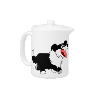 Cute Happy Cartoon Border Collie Teapot