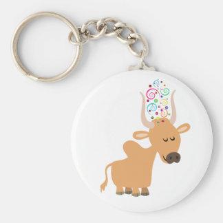 Cute Happy Cartoon Brahman Cow Keychain