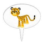 Cute Happy Cartoon Cheetah Cake Pick