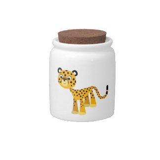 Cute Happy Cartoon Cheetah Candy Jar