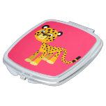 Cute Happy Cartoon Cheetah Compact Mirror