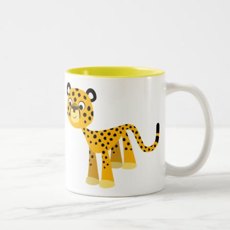 Cute Happy Cartoon Cheetah Mug