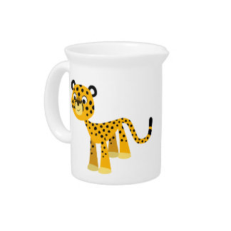 Cute Happy Cartoon Cheetah Pitcher
