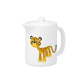 Cute Happy Cartoon Cheetah Teapot