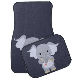 Cute Happy Cartoon Elephant Car Mat