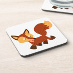 Cute Happy Cartoon Fox Coasters Set