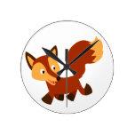 Cute Happy Cartoon Fox Wall Clock