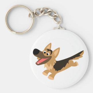 Cute Happy Cartoon German Shepherd Keychain
