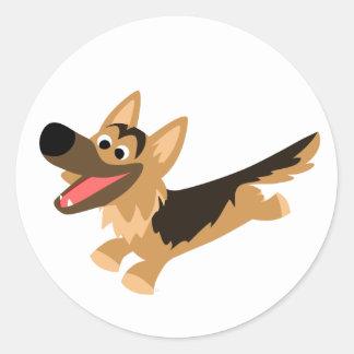 Cute Happy Cartoon German Shepherd Sticker