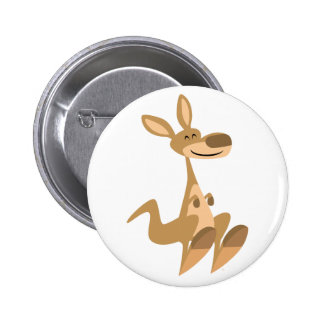 Cute Happy Cartoon Kangaroo  Button Badge