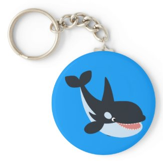 Cute Happy Cartoon Killer Whale Keychain