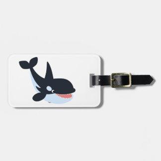 Cute Happy Cartoon Killer Whale Luggage Tag
