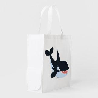 Cute Happy Cartoon Killer Whale Reusable Bag