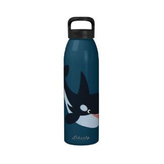 Cute Happy Cartoon Killer Whale Water Bottle