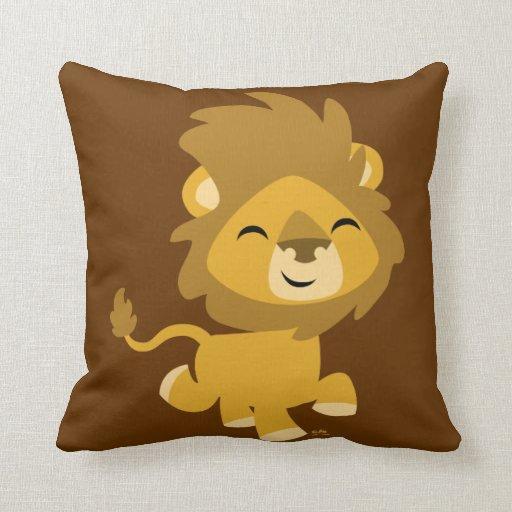 Cute Lion Pillow : Cute Happy Cartoon Lion Pillow Zazzle