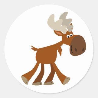 Cute Happy Cartoon Moose Sticker