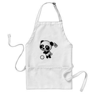 Cute Happy Cartoon Panda Bear Swinging Golf Club Adult Apron