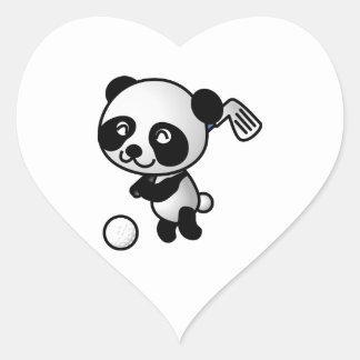 Cute Happy Cartoon Panda Bear Swinging Golf Club Heart Sticker