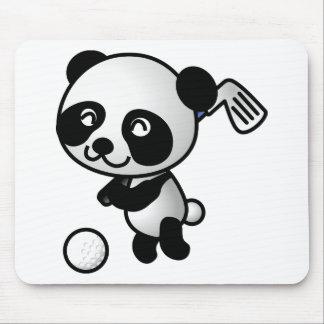 Cute Happy Cartoon Panda Bear Swinging Golf Club Mouse Pad