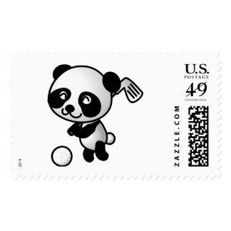 Cute Happy Cartoon Panda Bear Swinging Golf Club Stamp
