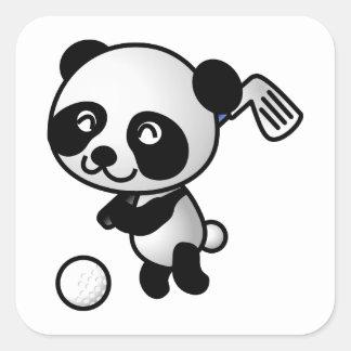 Cute Happy Cartoon Panda Bear Swinging Golf Club Square Sticker