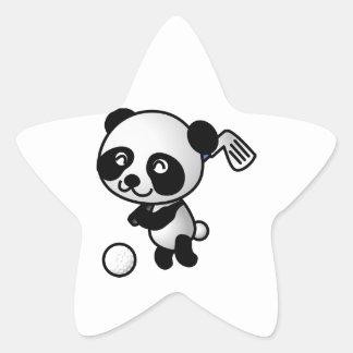 Cute Happy Cartoon Panda Bear Swinging Golf Club Star Sticker