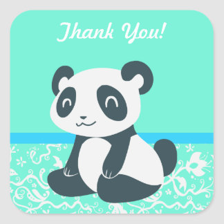 Cute Happy Cartoon Panda Square Stickers