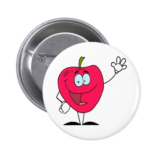cute happy cartoon red apple character 2 inch round button