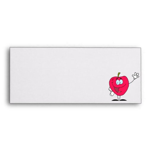 cute happy cartoon red apple character envelopes