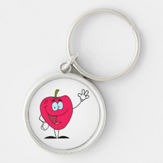 cute happy cartoon red apple character keychain