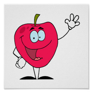 cute happy cartoon red apple character print