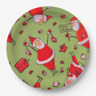 Cute, Happy Cartoon Santa and Gifts Paper Plate
