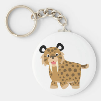 Cute Happy Cartoon Smilodon Keychain