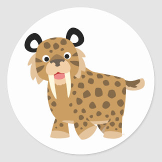 Cute Happy Cartoon Smilodon Sticker