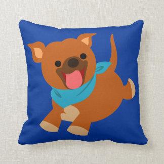 Cute Happy Cartoon Staffie Throw Pillow