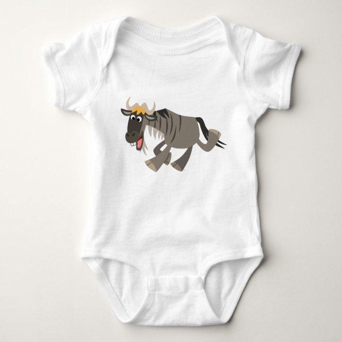 Cute Happy Cartoon Wildebeest Baby Baby Bodysuit