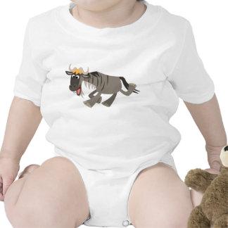 Cute Happy Cartoon Wildebeest Baby Bodysuit
