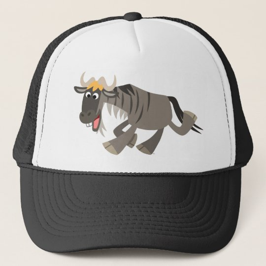 Cute Happy Cartoon Wildebeest Hat